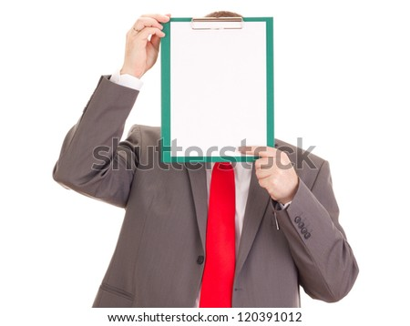 Businessman with clipboard - stock photo