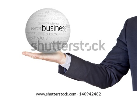 businessman with conceptual sphere in the hand - stock photo