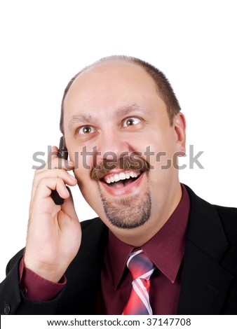 Businessman with crazy eyes talking by mobile phone, and receiving amazing, good and exciting news, laughing out loudly, isolated on white background - stock photo