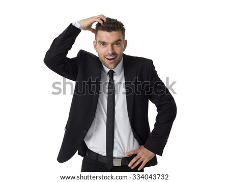 Businessman with crazy new idea Closeup Portrait isolated on White Background - stock photo