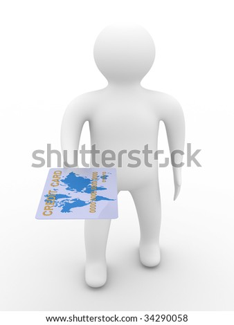businessman with credit card on white background. 3D image - stock photo