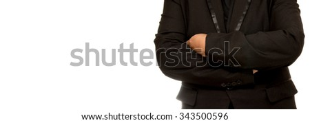 businessman with crossed arms pose, with blank copyspace area for text , isolated on white background