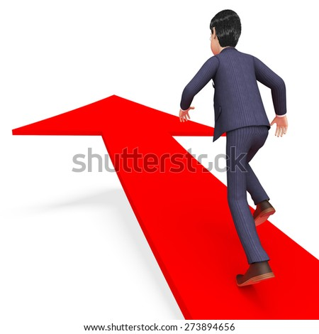 Businessman With Direction Meaning Corporate Advancement And Victory - stock photo