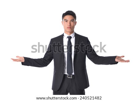 businessman with doubt gesture on white background