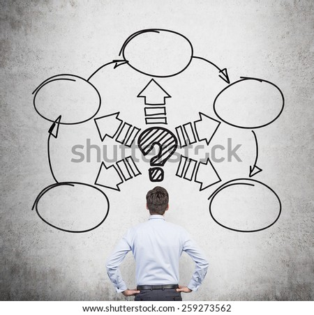 businessman with drawing scheme over head - stock photo