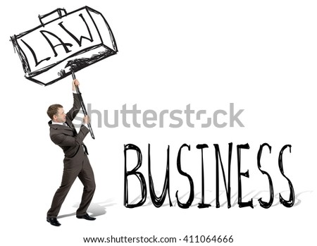 Businessman with drawn hammer breaking word business