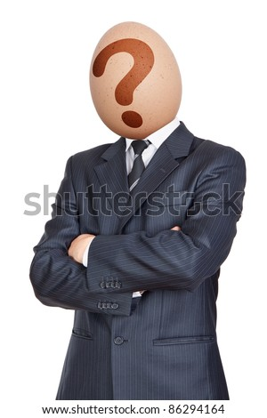 Businessman with Egg Head - stock photo