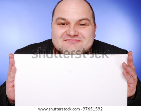 businessman with empty board - stock photo