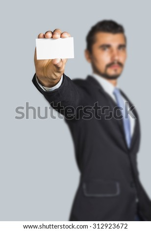 Businessman with empty business card