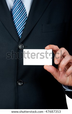 businessman with empty card in hand