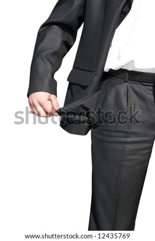 Businessman with empty pockets on white