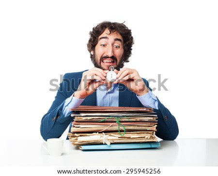 businessman with files and stopwatch - stock photo