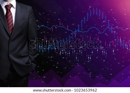 Businessman with folded arms on abstract forex background. Finance and trade concept