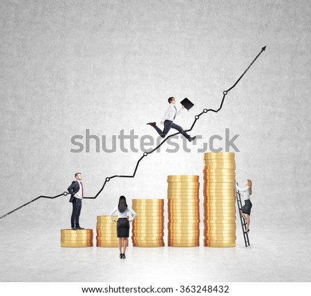 Businessman with folder flying over a bar chart made of coins, another man standing on the lowest bar, woman climbing a ladder, another woman looking at them. Concrete background. Concept of success. - stock photo