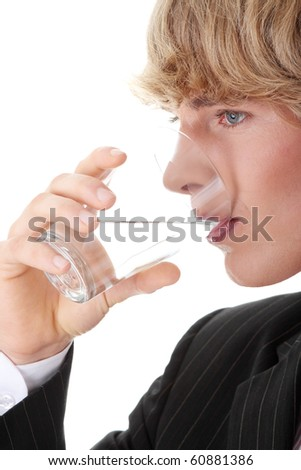 Businessman with glass of water, isolated on white