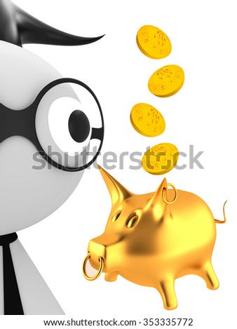 Businessman with glasses and a tie and piggy bank - stock photo