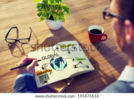 Businessman with Global Business Concept - stock photo