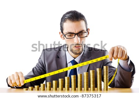 Businessman with golden coins - stock photo
