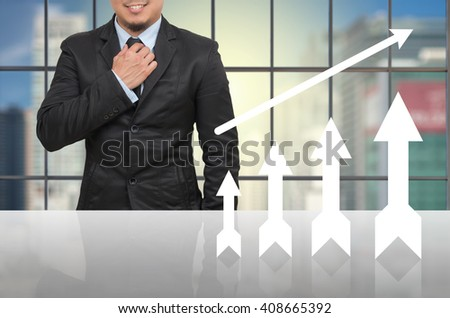 Businessman with growth up arrow in office conference meeting room on photo blurred cityscape, Business investment growth concept - stock photo