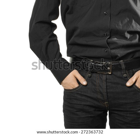 businessman with hands in pockets isolated - stock photo