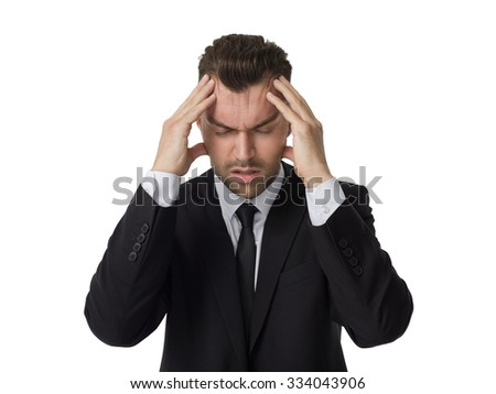 Businessman with headache Closeup Portrait isolated on White Background - stock photo