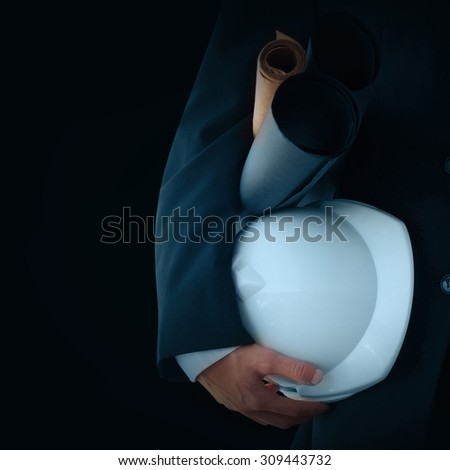 Businessman with helmet