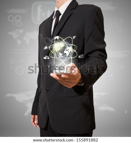 businessman with high technology on mobile - stock photo