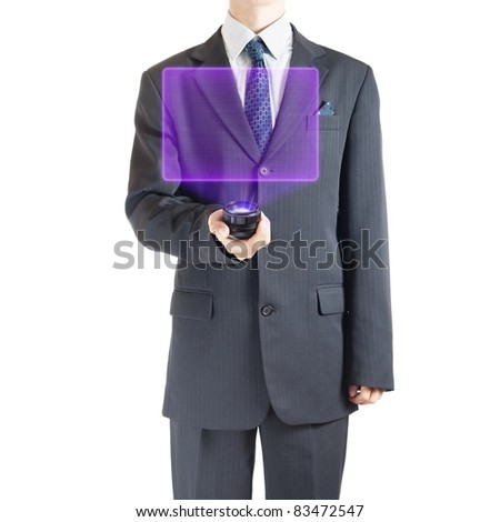 Businessman with holographic projector - stock photo