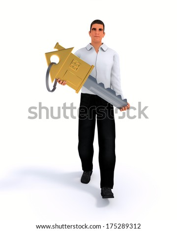 Businessman with key, concept of the real estate theme - stock photo
