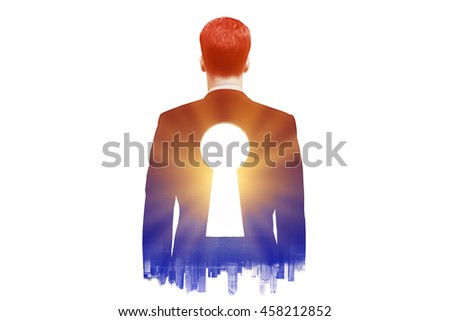 Businessman with keyhole in his back on dark city background with sunlight. Double exposure - stock photo