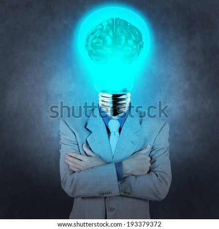 businessman with lamp-head 3d metal brain as concept