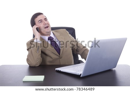 Businessman with laptop and phone in white background