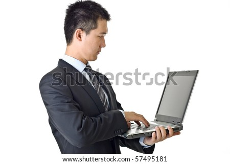 Businessman with laptop, closeup portrait of Asian isolated on white background.