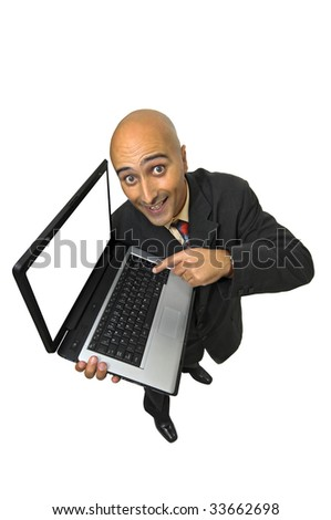 Businessman with laptop computer isolated in white