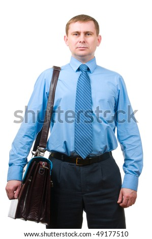 Businessman with leather briefcase isolated on white background - stock photo