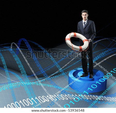 Businessman with Life Buoy Rescue in web metaphoric sea - stock photo