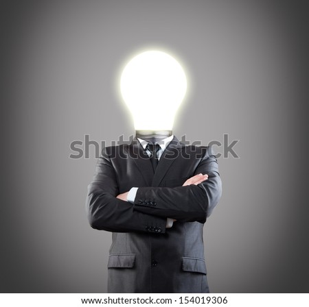 businessman with light bulb head have got an idea