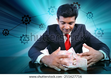 Businessman with lot of money - stock photo