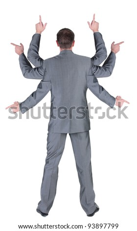businessman with many hands pointing at wall. rear view. Isolated over white . - stock photo