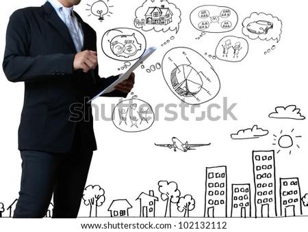 businessman with marker writing something isolated on white background - stock photo