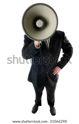 Businessman with megaphone from a high angle view