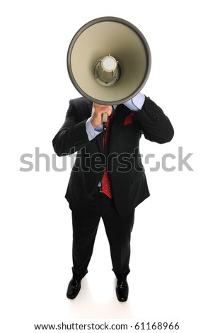 Businessman with megaphone isolated on a white background - stock photo