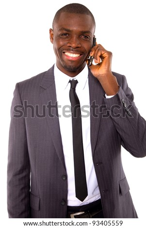 businessman with mobile - stock photo