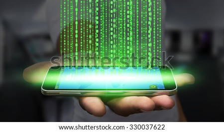 Businessman with modern mobile phone uploading information - stock photo