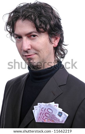 businessman with money in his pocket - stock photo
