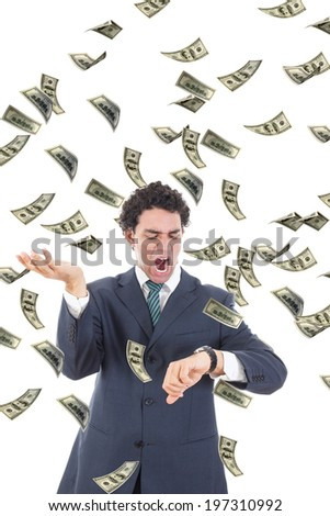 Businessman with money realizing he is running out of time, Stressed man looking at watch trying to catch falling dollars banknotes, Man losing money