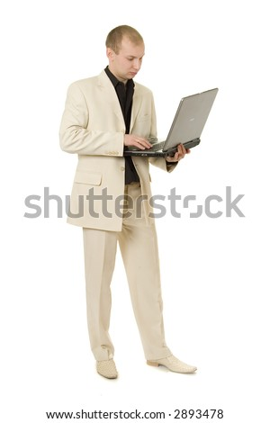Businessman with notepad isolated on white.