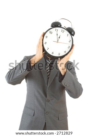 businessman with old clock on white background