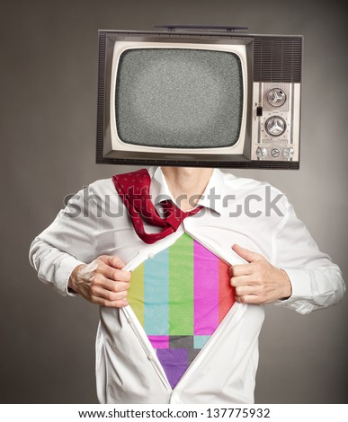 businessman with old retro television on her head - stock photo