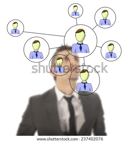 Businessman with online friends network isolated on white background - stock photo